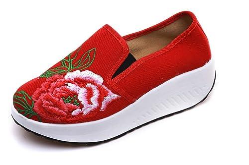 Bordado Zapatos/Alpargatas/ Merceditas/Un pie Ocio Suave Pendiente Inferior y cómodos Zapatos de Mujer Bordados Gruesos únicos Zapatos de Tela.