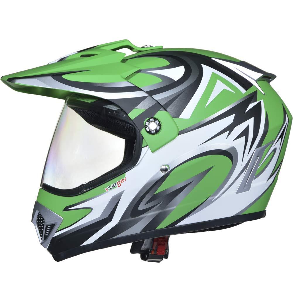 Gr/ö/ße:XS Farbe:Gr/ün V//RCK RX-963 Crosshelm Integralhelm Quad Cross Enduro Motocross Offroad Helm rueger 53-54