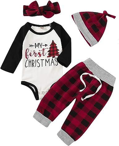 Xmas Newborn Baby Boy Girls Romper Bodysuit Pants Hat Outfits Set Clothes 3Pcs