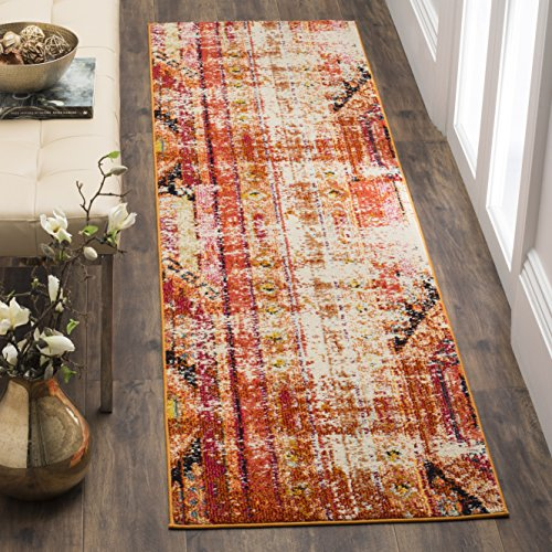 Safavieh Monaco Collection MNC222H Modern Bohemian Orange Distressed Runner Rug (2'2