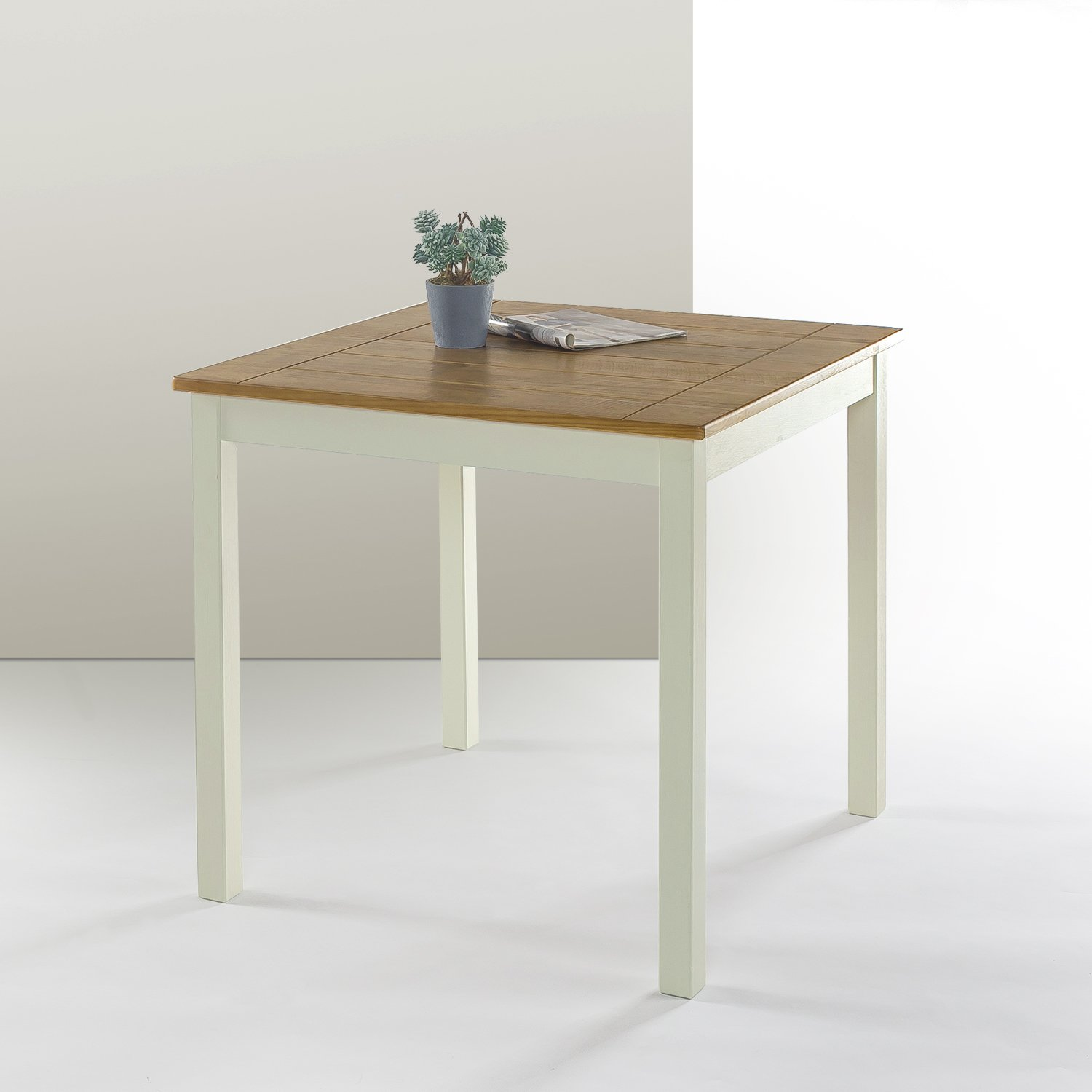 Zinus farmhouse square wood dining table