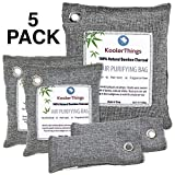 Bamboo Charcoal Air Purifying Bags Variety 5 Pack (1 x 500g) (2 x 200g) (2 x 75g) Natural Air Fresheners & Odor Eliminators For Home, Pets ,Car, Closet, Shoes