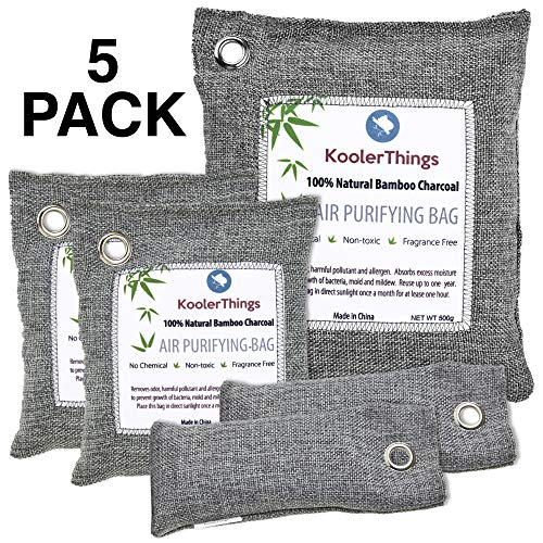 KoolerThings 5 Pack - Bamboo Charcoal Air Purifying Bags (1 x 500g) (2 x 200g) (2 x 75g) Natural Air Fresheners & Odor Eliminators for Home, Pets,Car, Closet, Shoes (Best Way To Eliminate Odors)