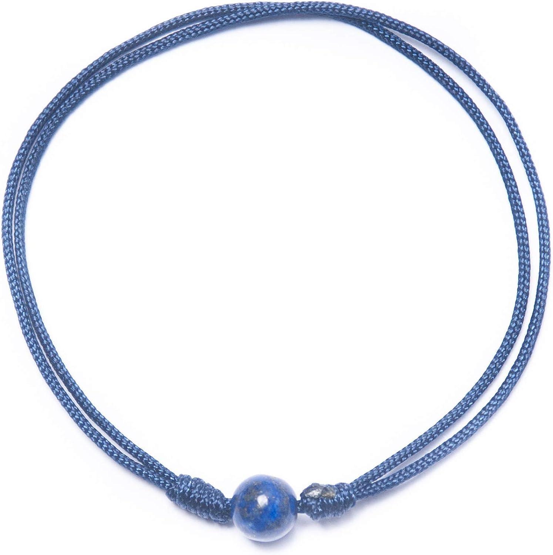 BOW, Pulsera Lapislázuli (6 mm) Hilo Nylon Especial Buena Energía y Sanador a Nivel Mental, Espiritual y Físico
