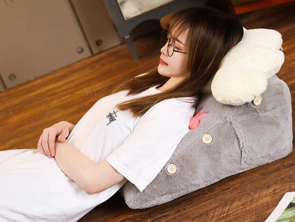 Creative Bedside Triangle Cushion Pillow Lovely Waist Back Lumbar Pillow Soft Reading Pillow Blue, 45/×50/×25CM