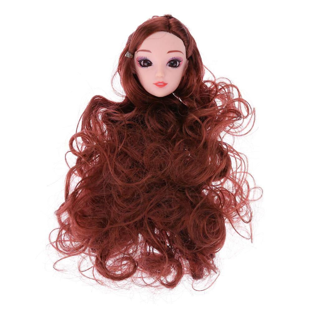 UEB Accessoires pour Poup/ées Barbie Poup/ée T/ête en Plastique Cheveux Ondul/és 3D Vrai Oeil de Cadeau Bricolage de G/âteau Moule /à Cuisson Nude B/éb/é Accessoires Marron