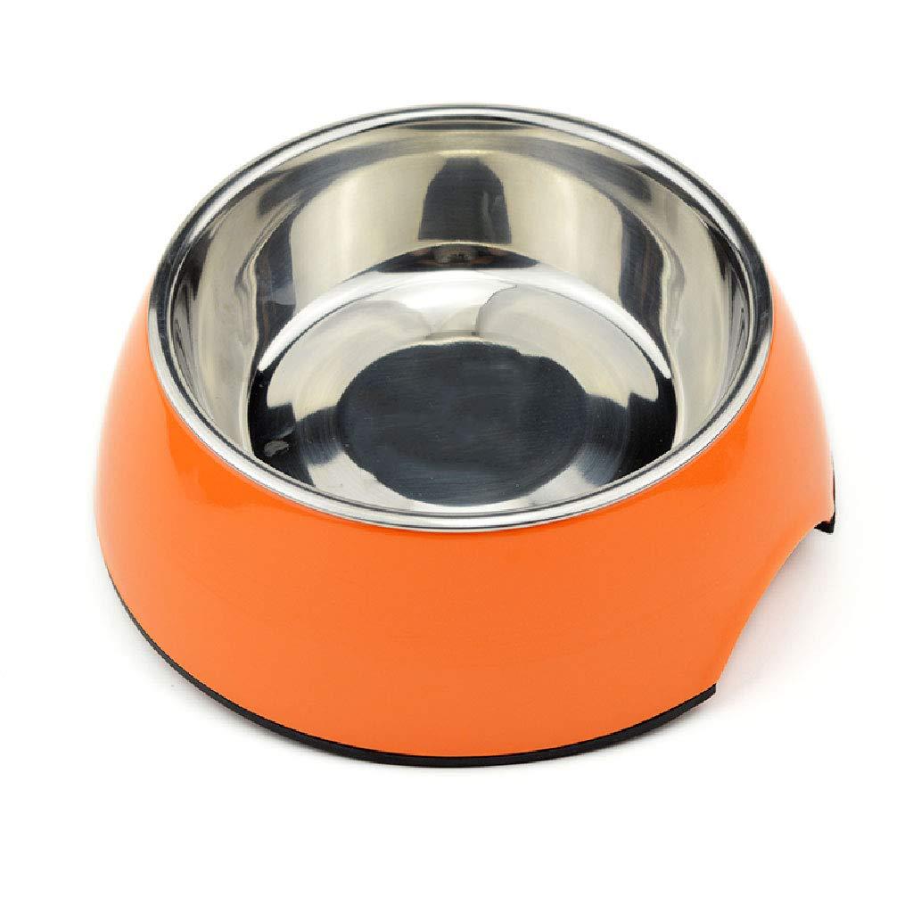 orange CWWAN Pet Bowl Single Bowl Stainless Steel Bowl Dog Food Bowl Cat Bowl Resin Pet Bowl (orange)