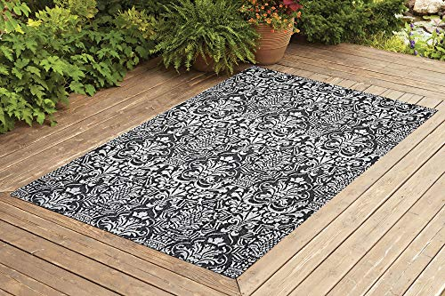 Benissimo Contemporary Indoor/Outdoor Sisal Area Rug Flower G. Collection Woven, Transitional, Durable, and Easy Cleaning | Machine Rug for Living Room, Kitchen, Garage, Kids Room etc. | 5x7 | Gray