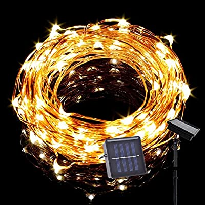 Solar LED String Lights, Tasodin 19Ft/6M 120LEDs, Solar Powered Lighting, Waterproof Bright Warm White Color, Micro String Copper Wire Ultra Thin Rope Light