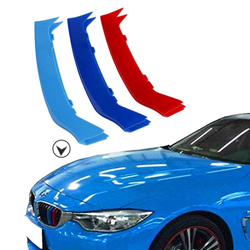 Muchkey 3D M Styling Front Grille Insert Trim motorsport Strips grill Cover Decoration Stickers For F32 F33 F36 9 grilles