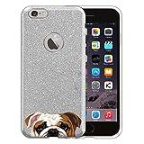 english bulldog iphone 6 case - FINCIBO iPhone 6 Case, Shiny Sparkling Silver Bling Glitter TPU Silicone Protector Cover Case For Apple iPhone 6 4.7 inch - English Bulldog