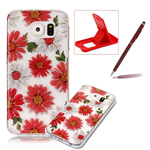 Glitter Clear Case for Samsung Galaxy S6,Crystal TPU Cover for Samsung Galaxy S6,Herzzer Ultra Slim Creative [Red Daisy Pattern] Bling Sparkly IMD Design Shock-Absorbing Soft Silicone Gel Bumper Cover Flexible TPU Transparent Skin Protective Case for Samsung Galaxy S6 + 1 x Free Red Cellphone Kickstand + 1 x Free Claret-Red Stylus Pen