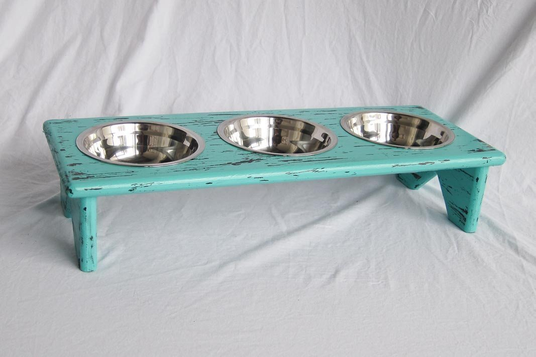 Pet Bowl Stand - Wooden - 3 equal bowls – Serve kibble, wet food and water by Fabian Woodworks
