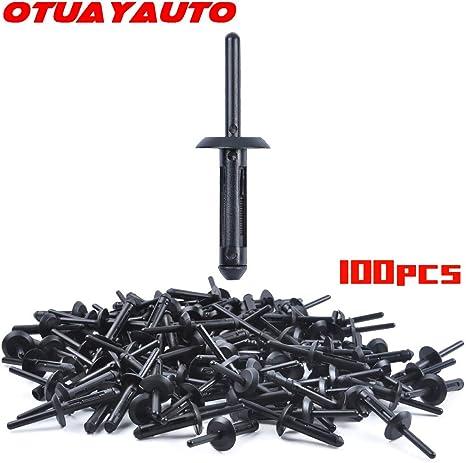 100 pcs Fender Retainer Clip Fasteners Plastic Rivet Nylon Bumper ATV Hood TSX