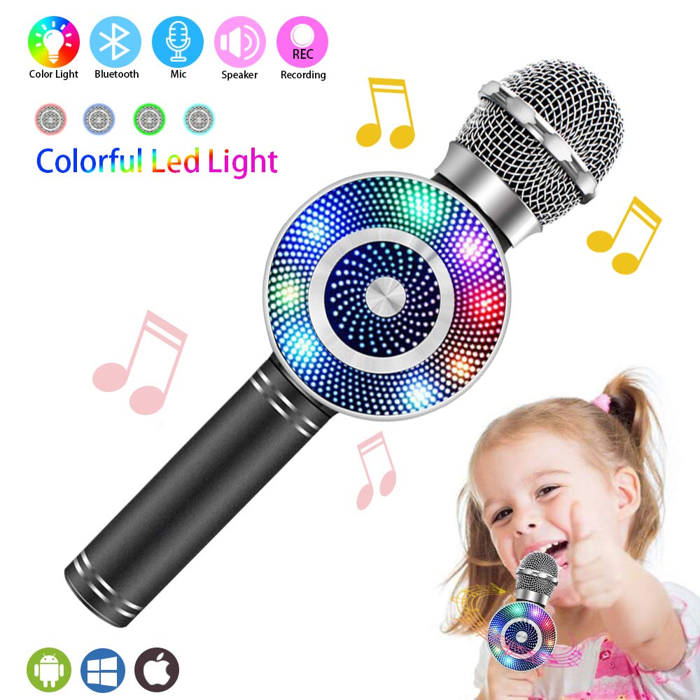 Wireless Karaoke Microphone, Handheld Bluetooth Microphone with Speaker and light Echo Mic Portable Karaoke Player for Kid Adult Girl Home Party Singing Birthday Gift, Compatible iPhone Android by Weird Tails (Image #1)
