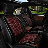 HomDSim 1 PCS Universal Fashion Auto Car Vehicle Seat Cover Cushion Wooden Bead Cool and Refreshing Suitable for Summer (Red)