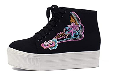 5b1703fcdbf0 Women s Rose Embroidered Floral Platform Fashion Sneakers Canvas Shoes for  Students(Black-35