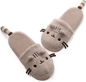 """GUND Pusheen Cat Plush Stuffed Animal Slippers, Gray, 12"""""""