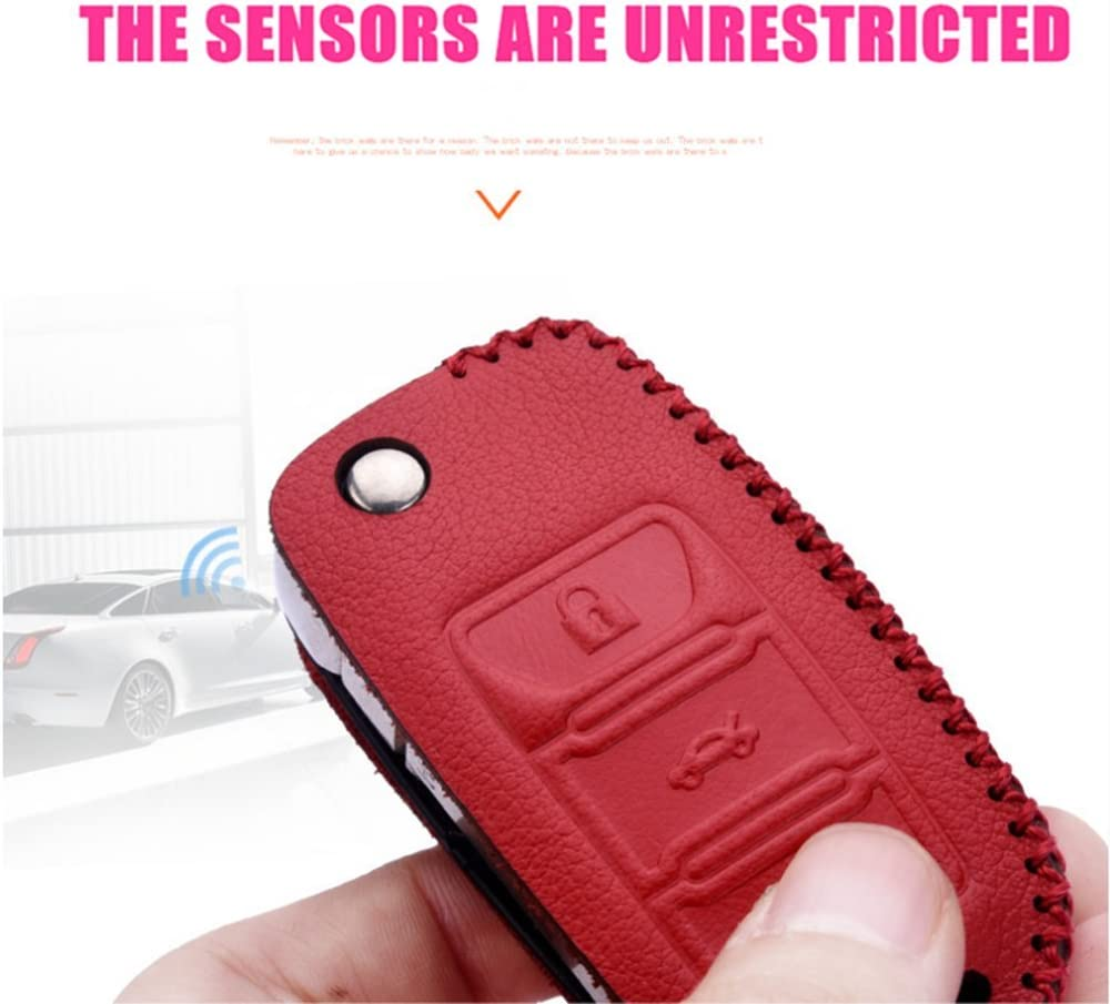 Wine Red Leather Cover Etui Shell for Volkswagen VW Skoda Seat 3-Button Keyless Entry Remote Flip Car Key Fob Holder Protective Case Bag with Braided Key Chain /& Key Rings Auto Accessories Gifts