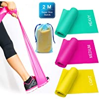 3 Pack Resistance Exercise Band Set, 2 m x 15 cm Elastic Flat Resistance Bands, Heavy Strength Fitness Bands for Pilates, Gym, Physical Therapy, Yoga, Carry Bag, Green & Yellow & Rose Red