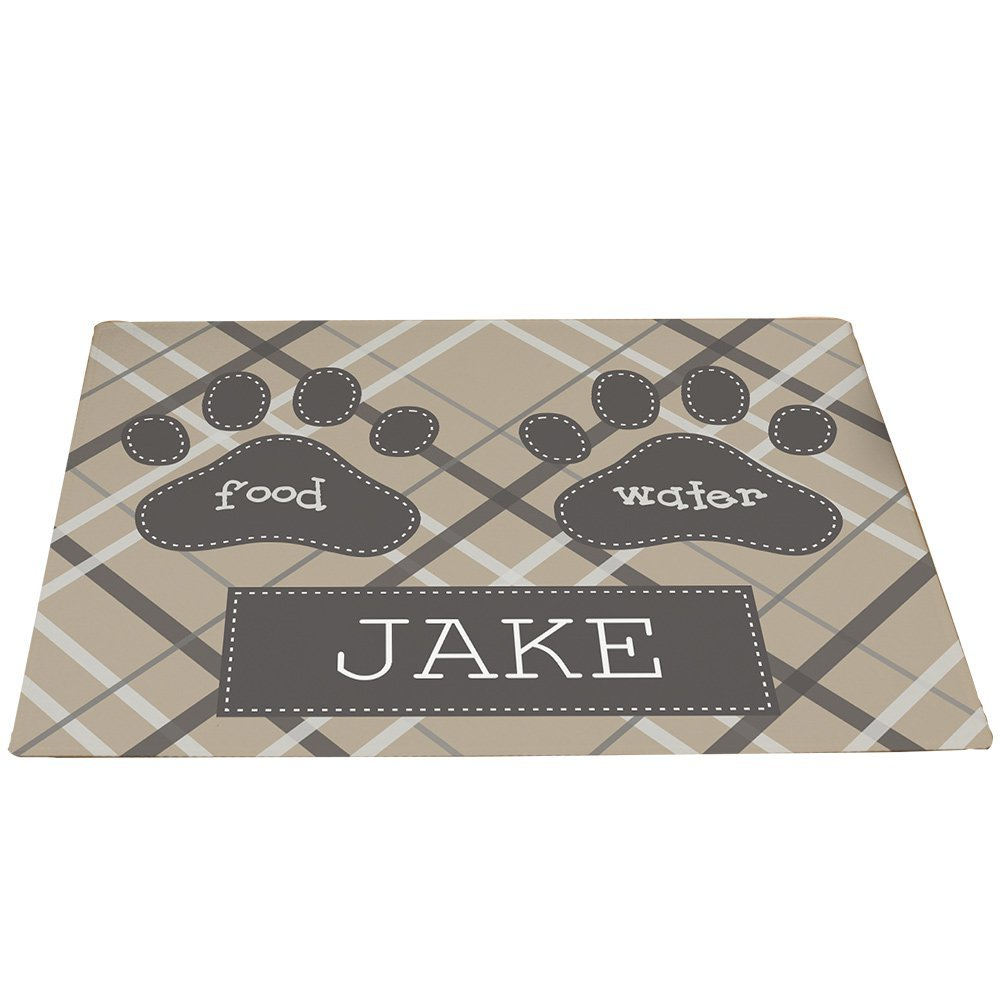 GiftsForYouNow Plaid Personalized Pet Feeding Mat, Tan