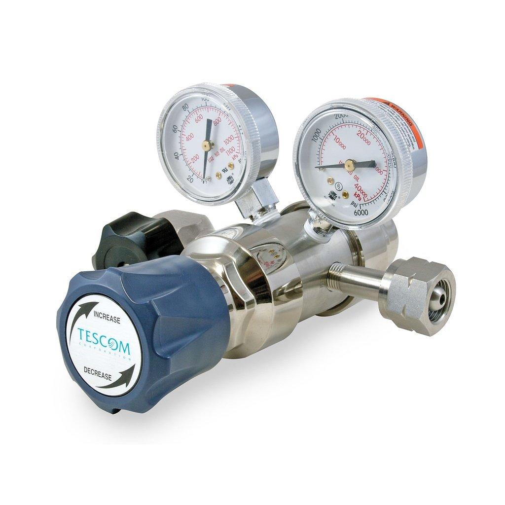 Gauges SST Diaphragm Outlet Valve 1//4 NPTF 0-25 PSIG 0.06 CV 6 Port 1//4 NPTF Plated Brass Body TESCOM SG2P2100-00APB SG2 Two-Stage Pressure Regulator