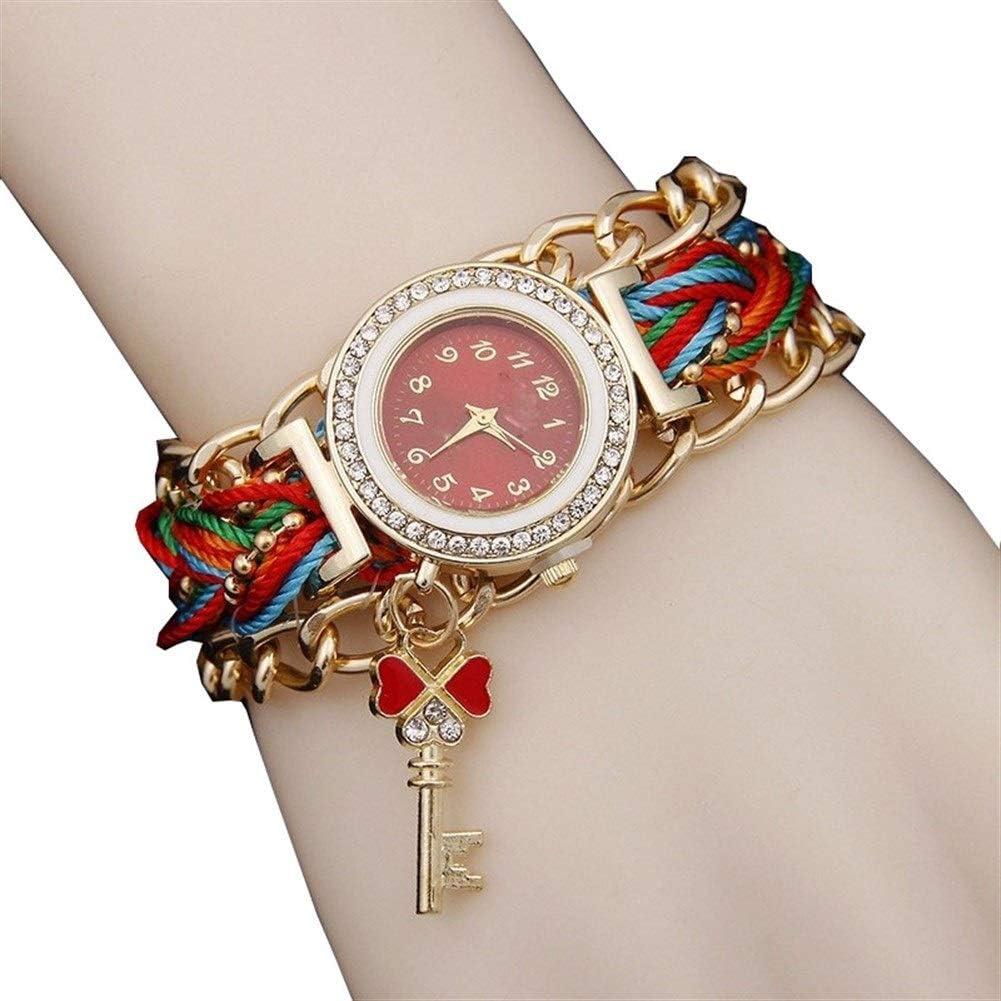 Señoras de la Manera Miran Clave Creativa del Reloj señoras del Reloj Colgante de Cuarzo, Reloj de Cuarzo Redonda pequeño Diamante de línea Chapado en Oro Pulsera con Colgante de Llave Cuero de Acero
