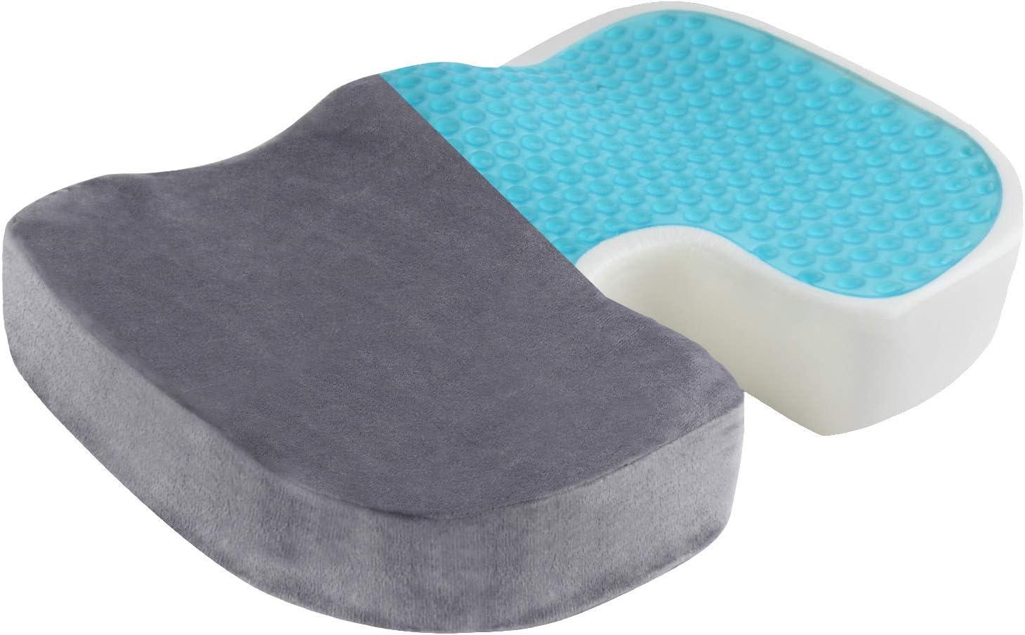 INNO STAGE Gel Enhanced Seat Cushion Comfort Seat Cushion for Office Chair - Non-Slip Car Seat Cushion - Gel & Memory Foam Coccyx Cushion for Tailbone Pain - Sciatica & Back Pain Relief