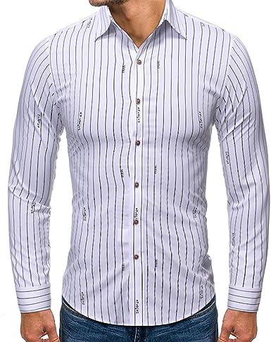 Heetey Camisa para Hombre, Estilo Moderno, Estampada, Manga Larga, Camisa Informal a Cuadros, Camisa a Rayas, Camisa para Traje Tradicional, cómoda de Llevar: Amazon.es: Ropa y accesorios