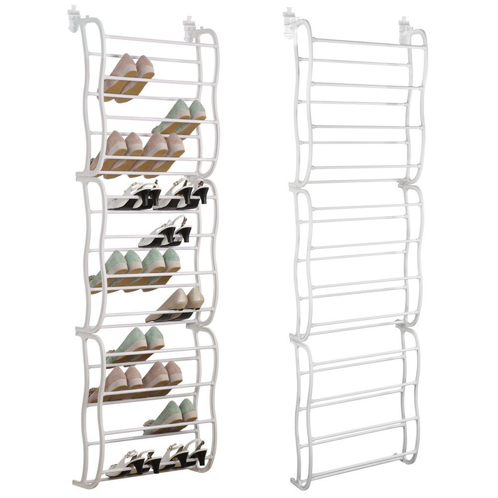 YuRen 36 Pair Over the Door Shoe Rack Organizer- White.