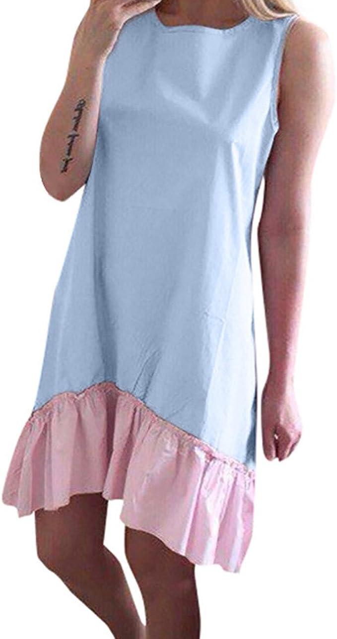 DEELIN Vestidos para Las Mujeres Casual Verano Costura Sleeveless ...