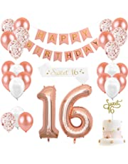 16th Birthday Decorations for Girls Sweet 16 Cake Topper and Satin Sash, Rose Gold Number 16 Balloons, Confetti Balloons and Happy Birthday Banner for Sixteen Party Supplies