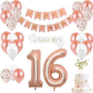 Joymemo Decorazioni Di Compleanno In Oro Rosa E 16 Forniture Per Feste Per Ragazze Cake Topper Fascia In Raso 16 Numeri Palloncini Striscioni E Palloncini Buon Compleanno Bianco Perla Amazon It Giochi E