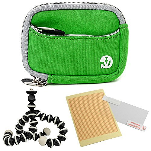 VanGoddy Mini Glove Sleeve Pouch Case for Leica C-LUX 3 V-Lux 20 Leica C (Typ112) Digital Cameras (Green Gray Trim) + Screen Protector + Mini Tripod Stand
