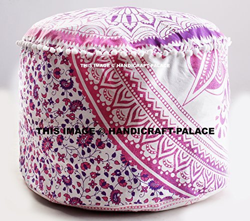 Indian Cotton Ombre Mandala Round Floor Pouf ottoman Cover Poufs Size 24 x 14 inches Sold By ''Handicraft-Palace''