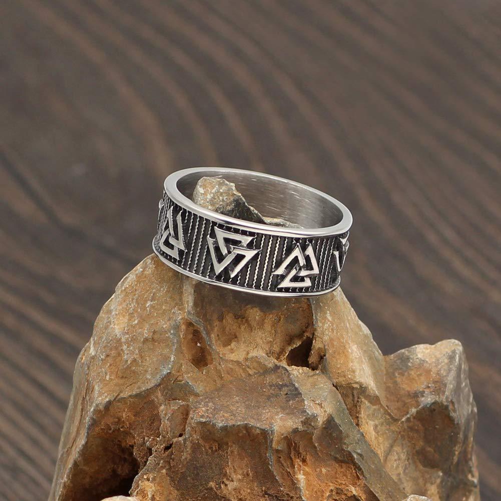 GuoShuang Hombres Acero Inoxidable N/órdico Vikingo Odin S/ímbolo Pagano Br/újula Amuleto Anillo