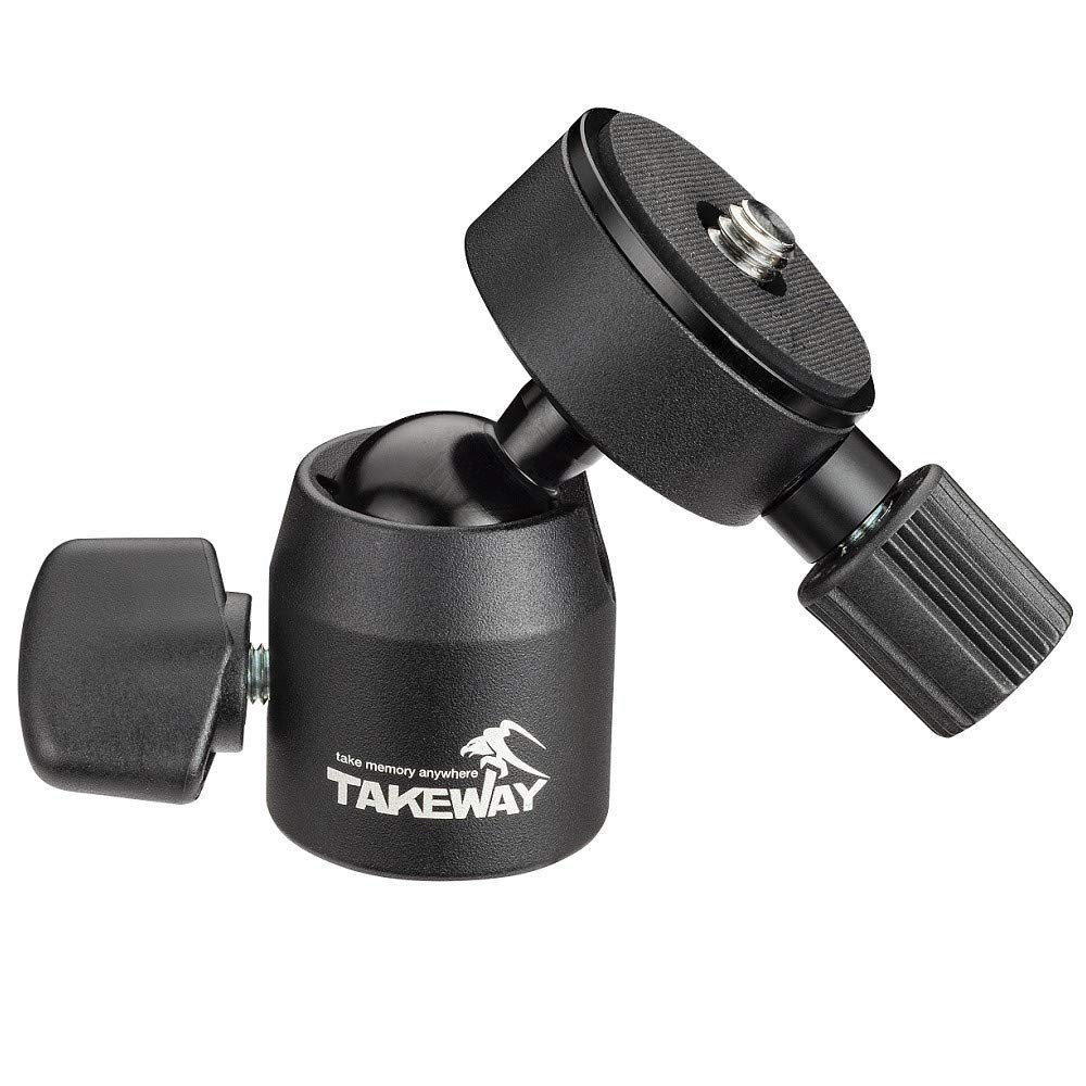 TAKEWAY T-B03 Mini Ball Head, 1/4''or 3/8'' Screew Hole, Max load 6lbs/3kg, Quick Release Plate, 360°Degrees, Metal Build Quality, Digital Camera/GoPro/Monopod/Slider/Compact DSLR/Cell Phone, Most Elect by TAKEWAY