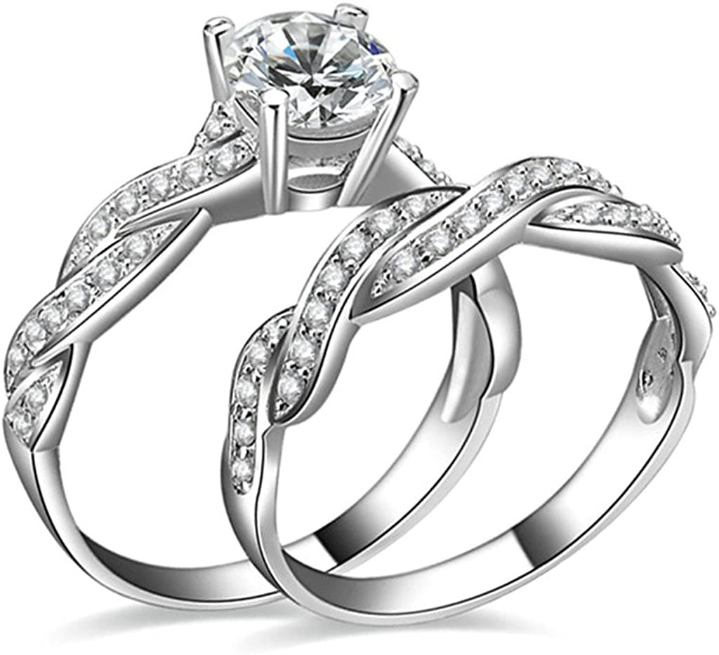 AMDXD Jewelry Silver Plated Wedding Bands for Women Hollow Round