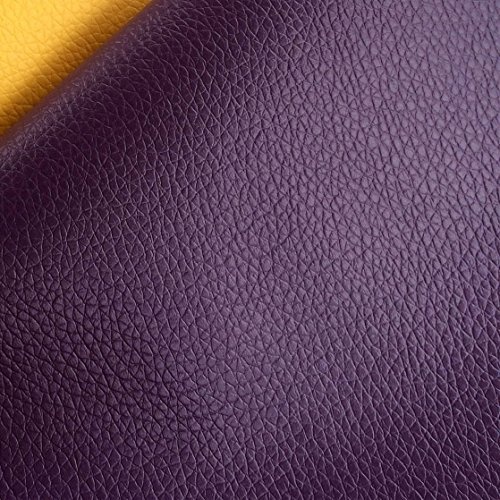 ZAIONE 13 Colors By the Half Yard Width 54'' Roll Solid Lichee Faux Leather Material PVC Vinyl Upholstery Crafts Fabric Sew For Shoes Bag Sewing Patchwork DIY Bow Craft Applique(Purple) by ZAIONE