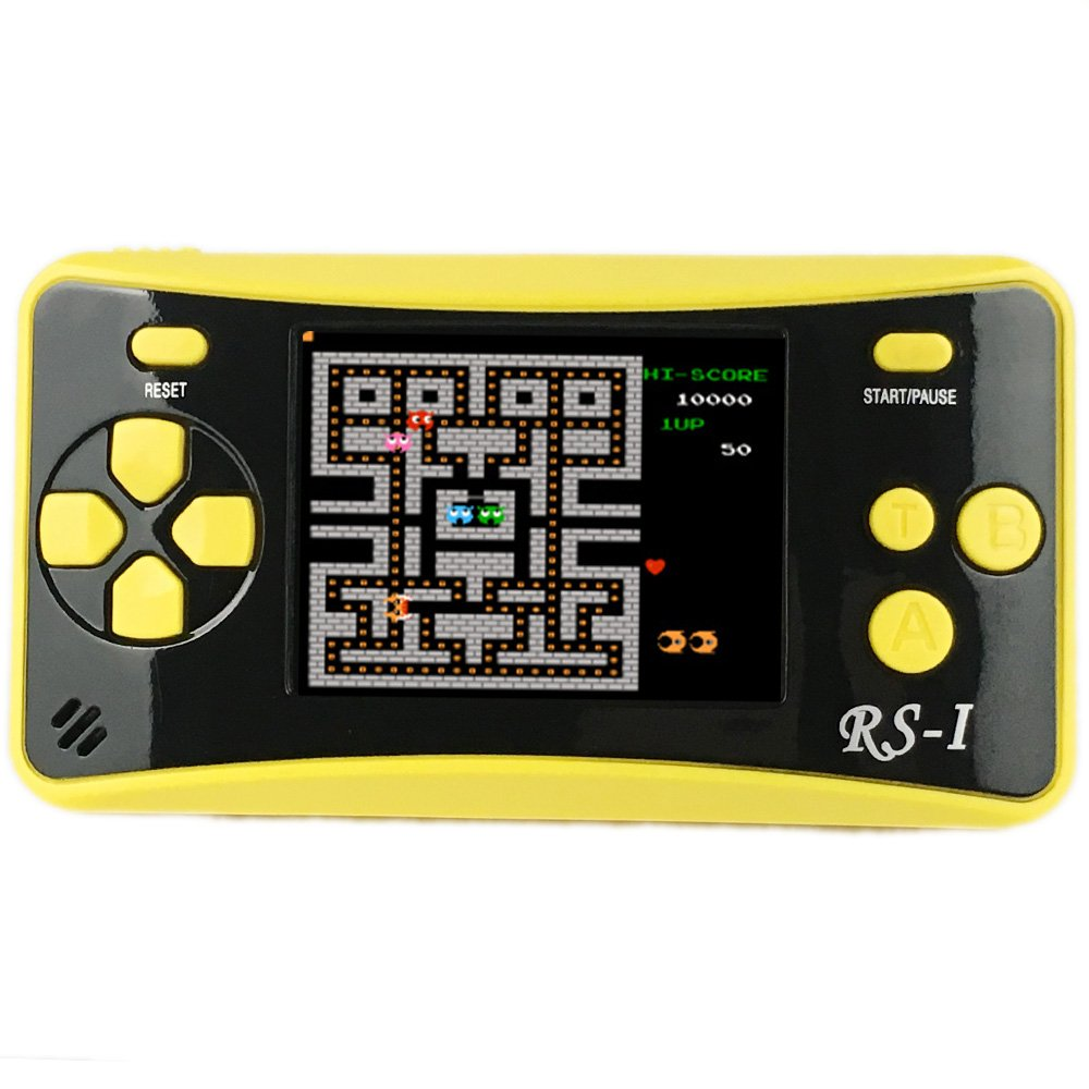 JJFUN RS-1 Handheld Game Console for Children,Retro Game Player with 2.5'' 8-Bit LCD Portable Video Games,The 80's Arcade Video Gaming System,Built-in 152 Classic Old School Games Entertainment-Yellow