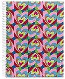 Agatha Ruiz de la Prada for Miquelrius Cardboard Notebook, Iris Hearts (8.5 x 11, 4-Subject, College Ruled) 120 SHEETS