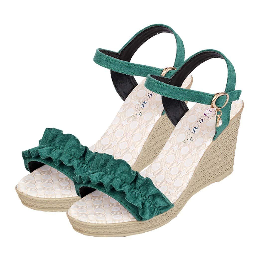 YKARITIANNA sandalias de cuña con hebilla, con volantes y puntera ...