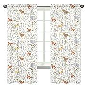 Sweet Jojo Designs 2-Piece Blue, Grey and White Woodland Deer Fox Bear Animal Toile Girl or Boy Bedroom Decor Window Treatment Panels