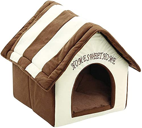 AHUIGOYCE Cat Dog Bed Round and Cave Shape Self Warming Bed Pet Tent House Kennel Winter Warm Nest Soft Foldable Sleeping Mat Pad