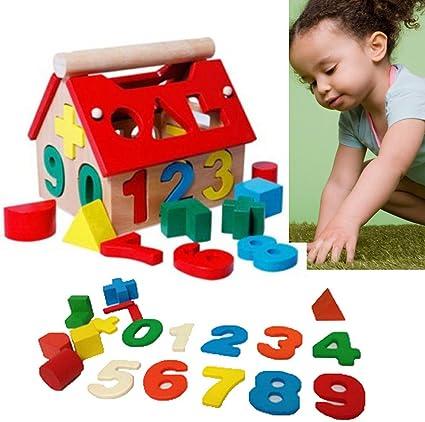 Wood Baby Blocks Toys Developmental Building House Intellectual Educational Kids