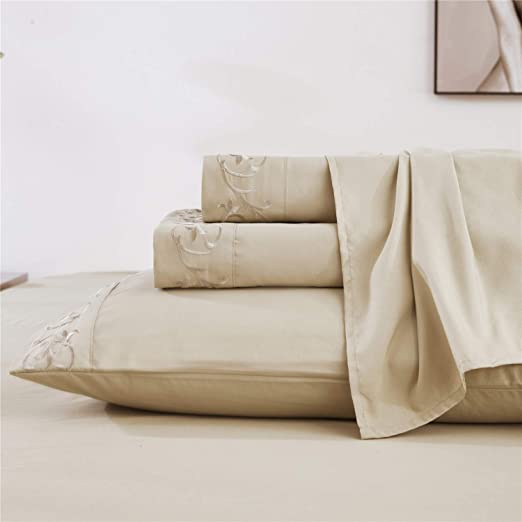 WRINKLE FREE SHEET SET SOLID-3 LINE EMBROIDERY-TAUPE