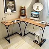 Soges L-Shaped Desk Computer Desk Multifunctional Computer Table Workstation, Teak 812-Y-N