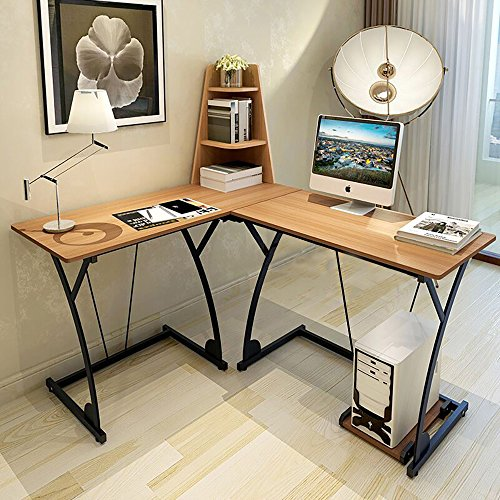 Soges L-Shaped Desk Computer Desk Multifunctional Computer Table Workstation, Teak 812-Y-N by soges