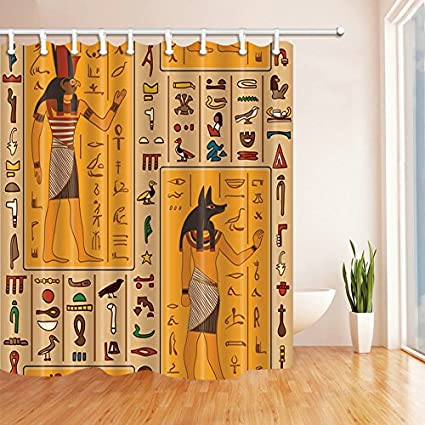 AMHNF Shower Curtain Cartoon Vintage Theme Ancient Egyptian Mural Text Symbol Personality Yellow Brown Curtains