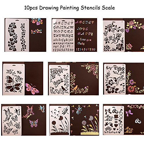 Stencil Template Airbrush Set (10pcs Drawing Painting Stencils Scale Template sets, Plastic Shapes Stencils Graphics Stencils for Children Creation,Scrapbooking, DIY Albums Accessories)